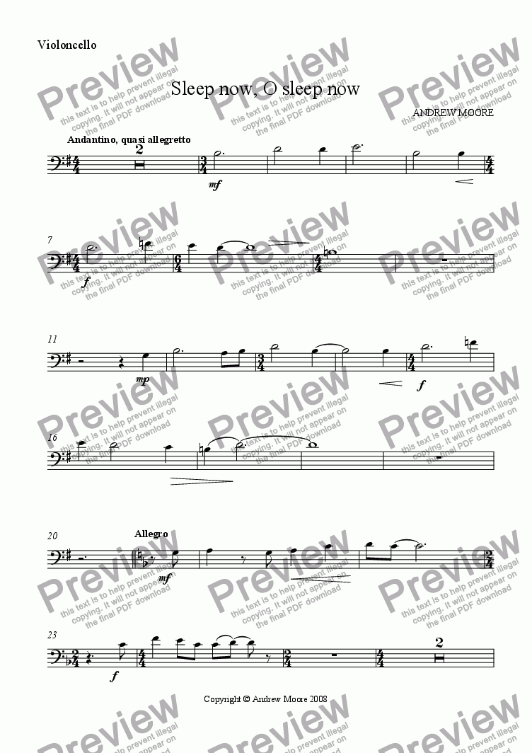 page one of the Cello part from 'Sleep now, O sleep now' for Cello & piano