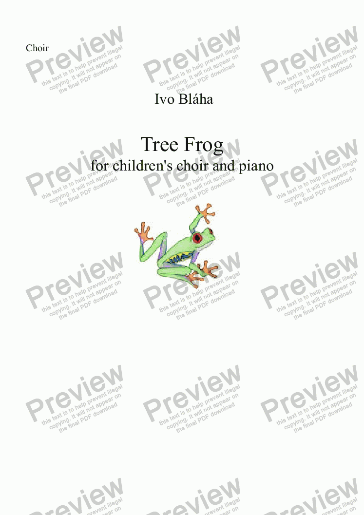 page one of the Choir part from TREE FROG (Rosnička) for children's choir and piano (English words)