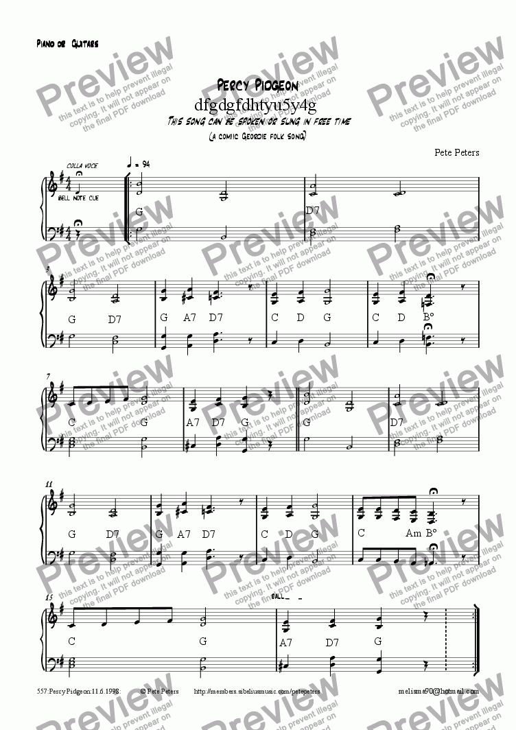 page one of the Piano or Guitar part from Percy Pigeon [comic Geordie folk song + piano]