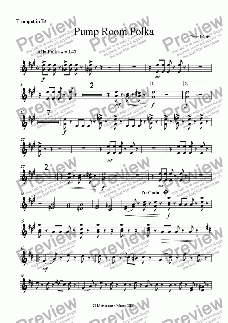 page one of the Trumpet in Bb part from Pump Room Polka