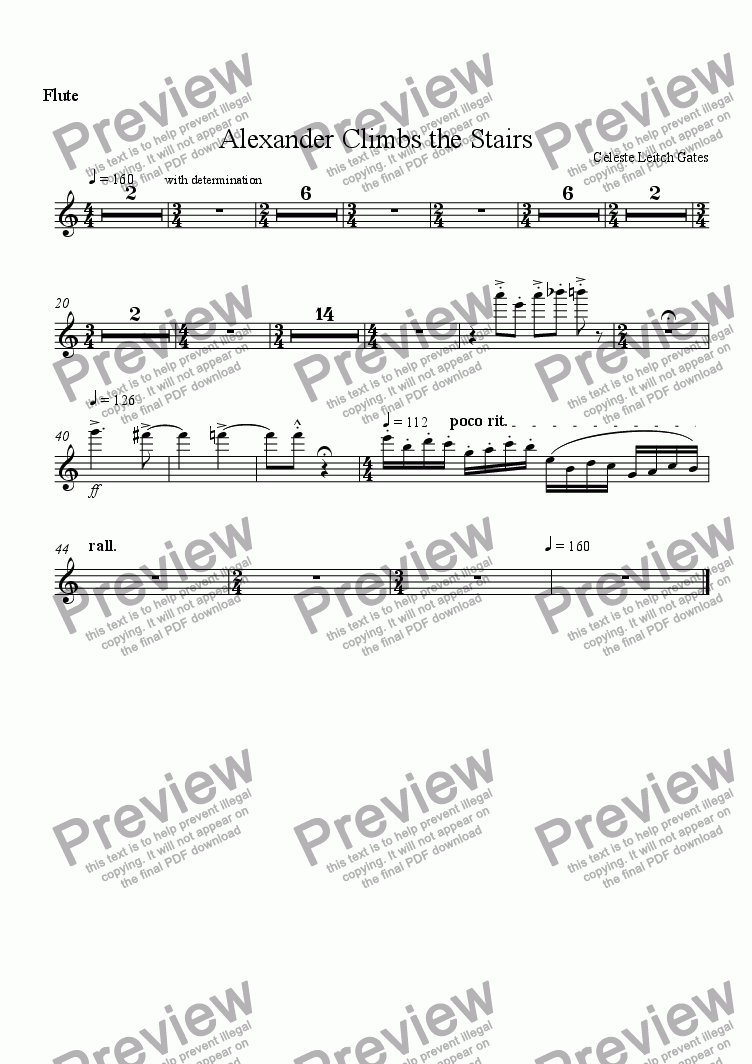 page one of the Flute part from Alexander Climbs the Stairs (from Enchanted Moments) for Woodwind Quintet