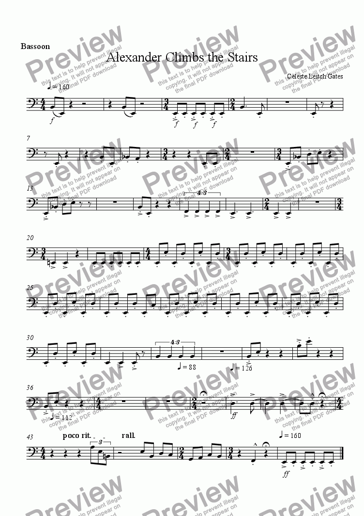 page one of the Bassoon part from Alexander Climbs the Stairs (from Enchanted Moments) for Woodwind Quintet