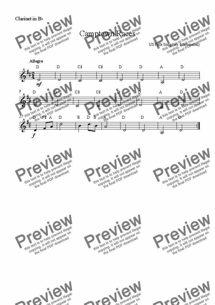 page one of the Clarinet in Bb part from Camptown Races for School Orchestra