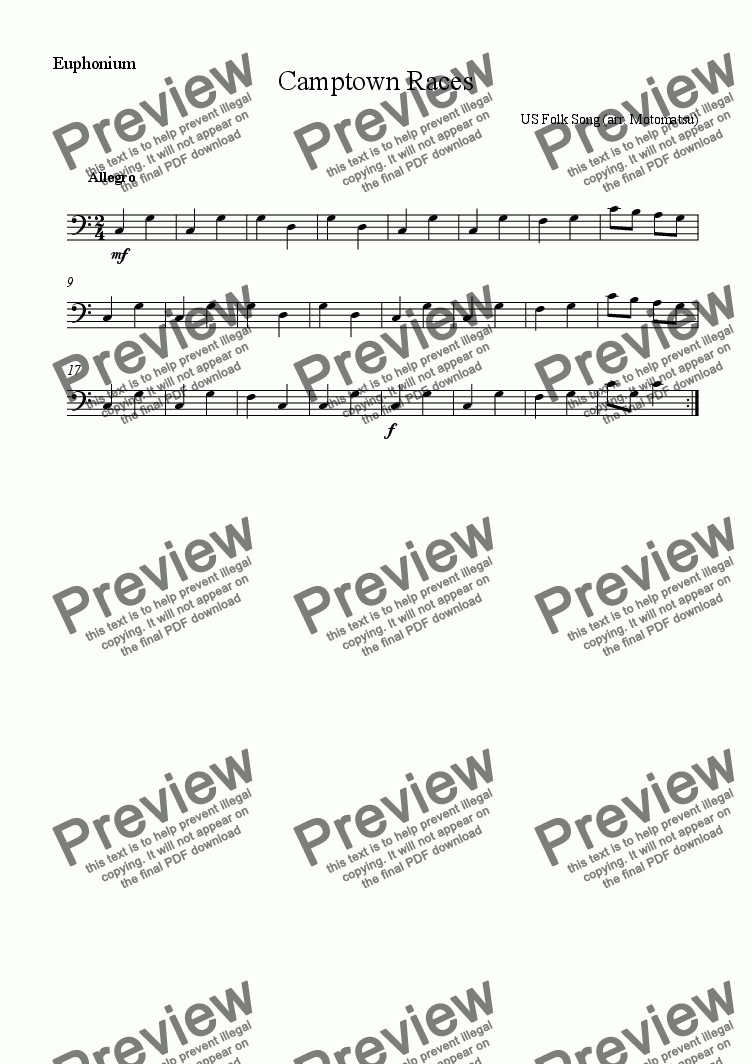 page one of the Euphonium part from Camptown Races for School Orchestra