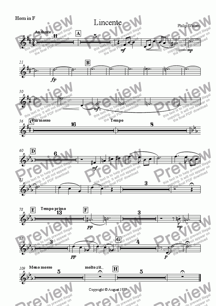 page one of the French horn part from Lincente