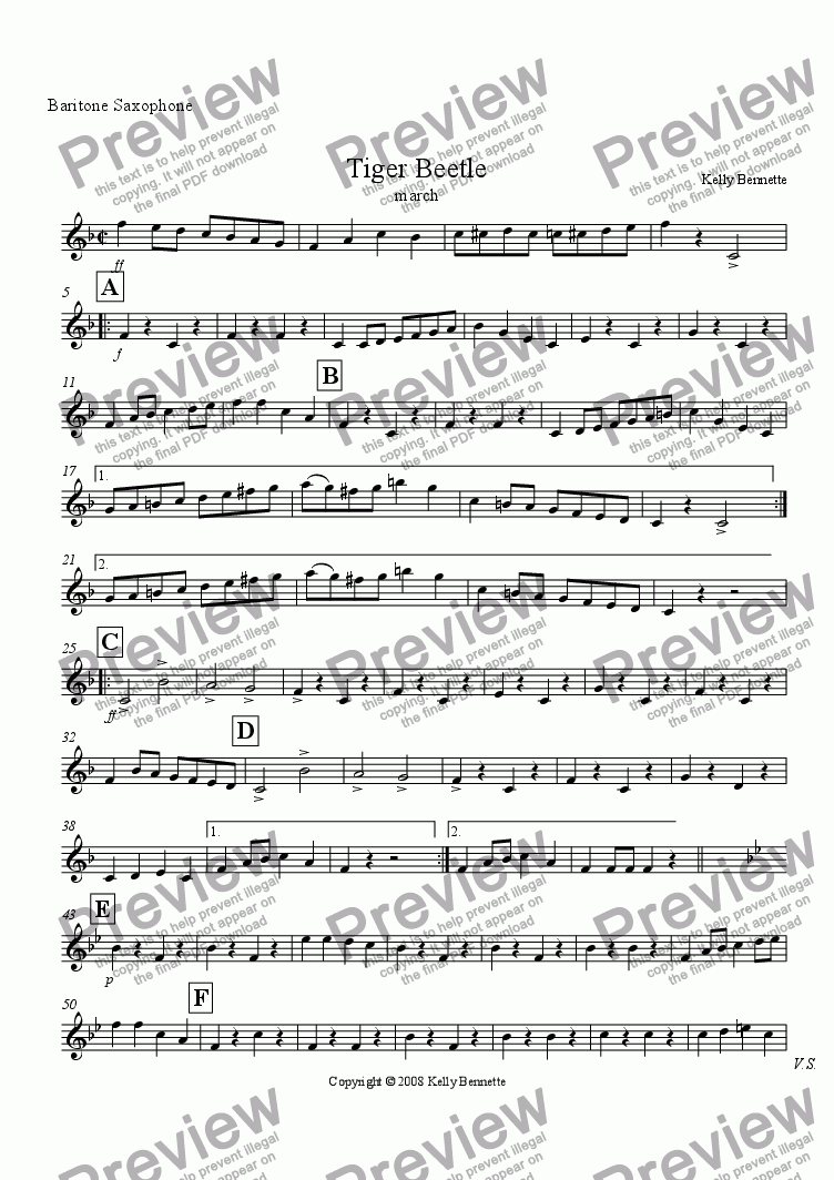 page one of the bari sax part from Tiger Beetle march