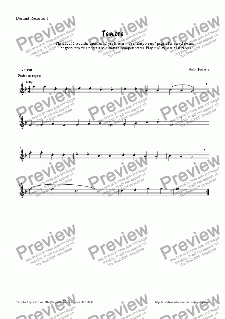page one of the Descant or Flute 1 part from Triplets [6th of 6 recorder trios for 12yrs & over] see Easy Peasy