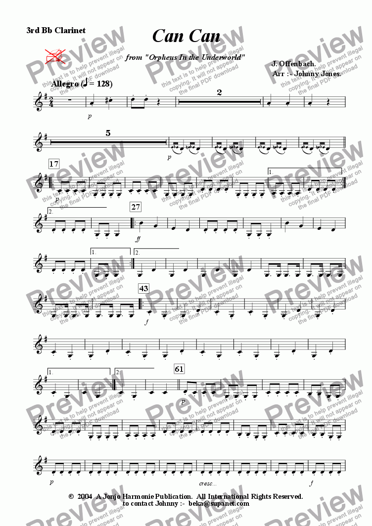 page one of the 3rd Bb Clarinet part from Can Can  from Orpheus In the Underworld  (3 Bb Clarinets)