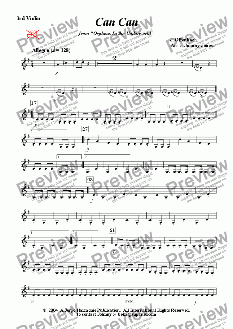 page one of the 3rd Violin part from Can Can  from Orpheus In the Underworld  (3 Violins)