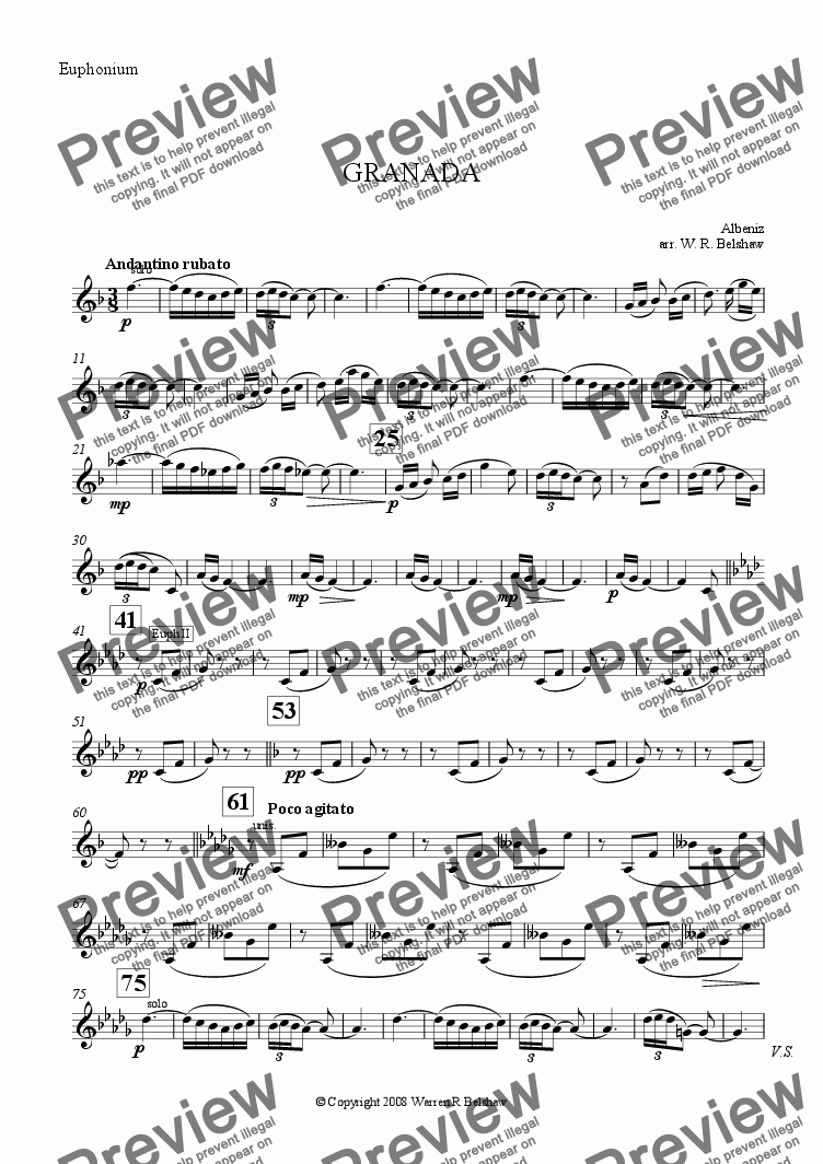 page one of the Euphonium part from Granada (brass band)