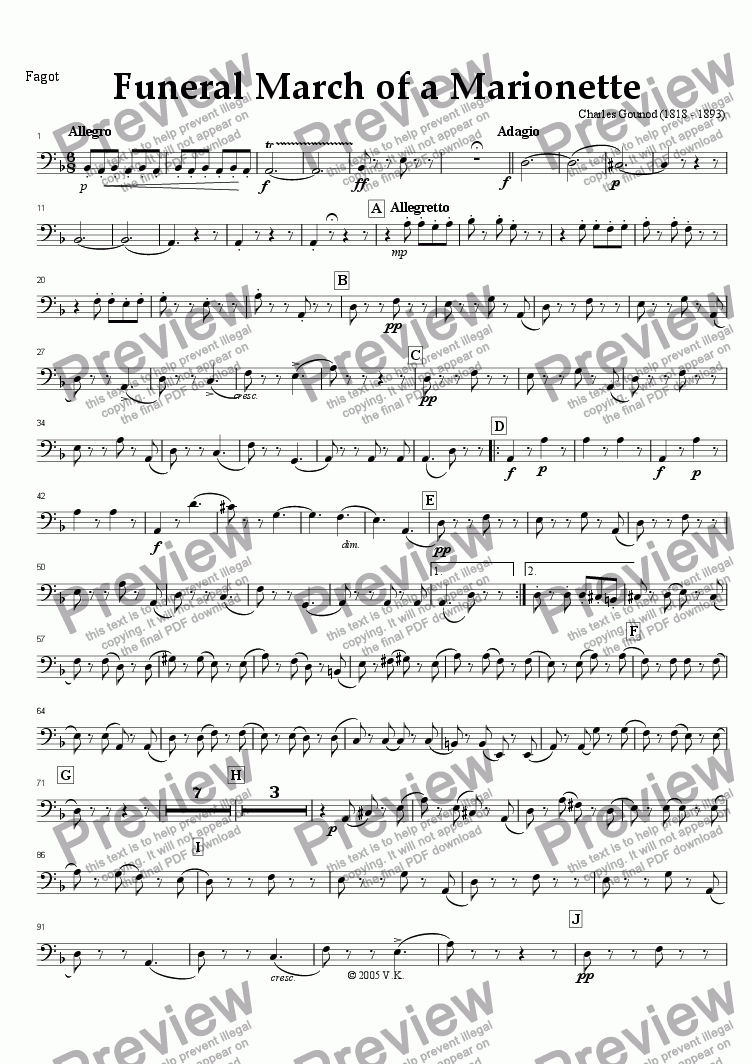 page one of the Bassoon part from The Funeral March of a Marionette