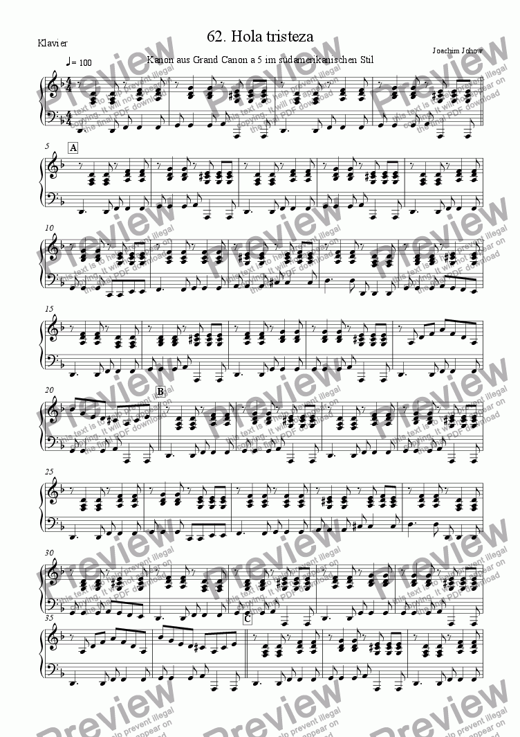 page one of the Piano part from Grand Canon 62 (Tristeza 4 Vl/Vla/Vlc)