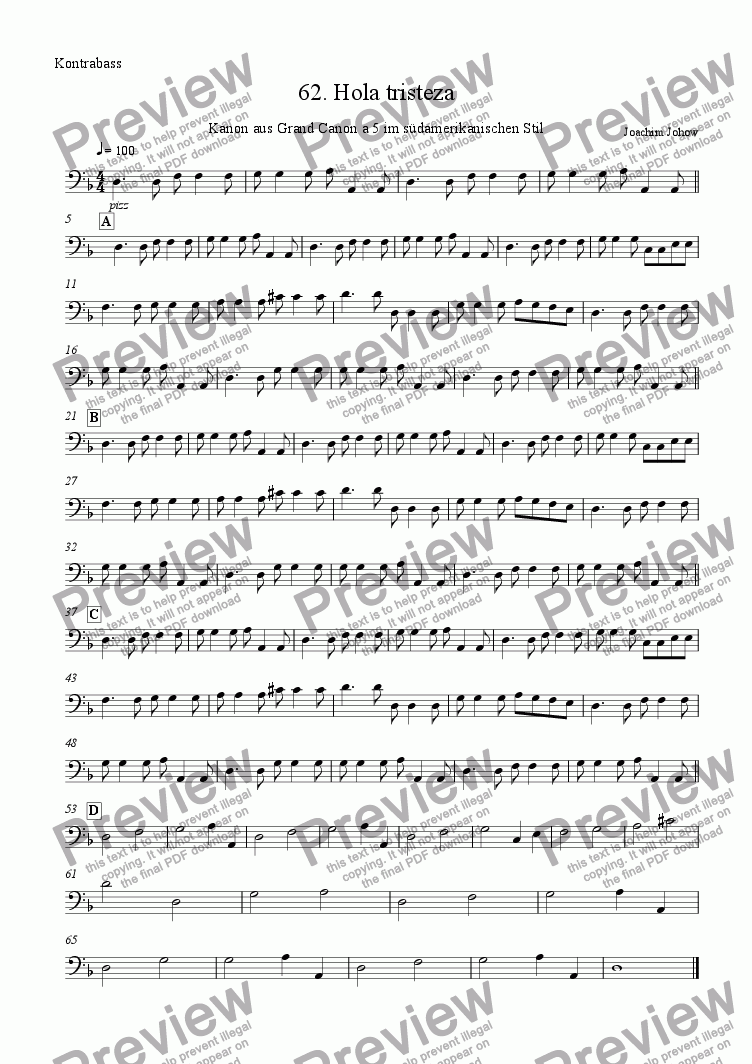 page one of the Bass part from Grand Canon 62 ( Tristeza 4 Fl/Cl B/A -T Sx)