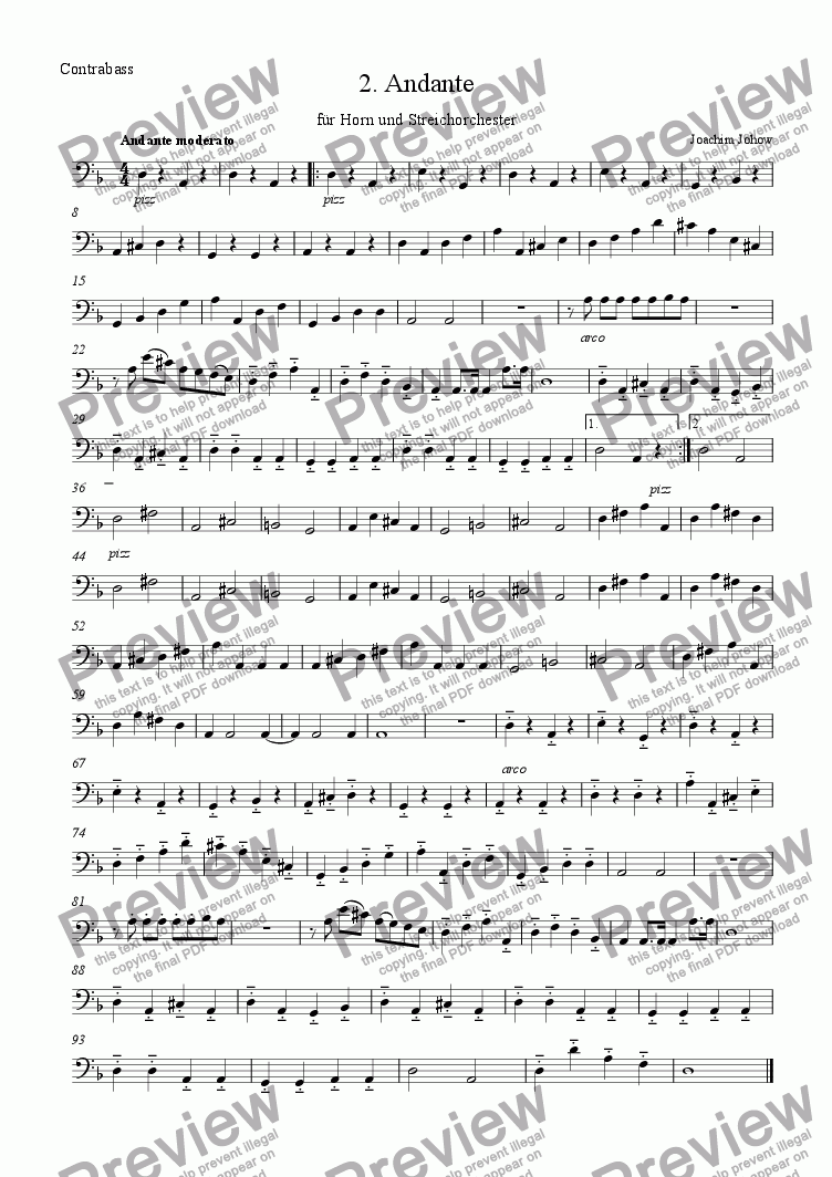 page one of the Bass part from Andante 2 for Horn and String Orchestra
