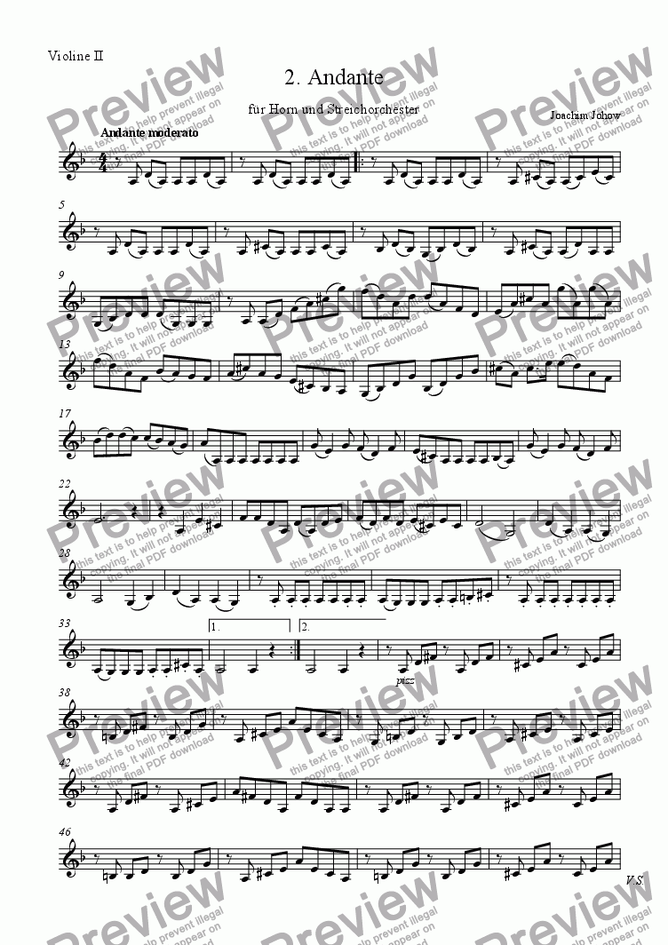 page one of the 2 Vl part from Andante 2 for Horn and String Orchestra