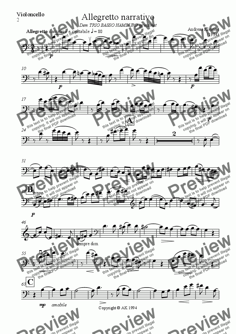 page one of the cello part from Allegretto narrativo (for viola, cello and bass)