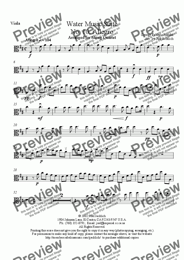 page one of the Viola part from Water Music Suite, No. 10, Allegro (D)