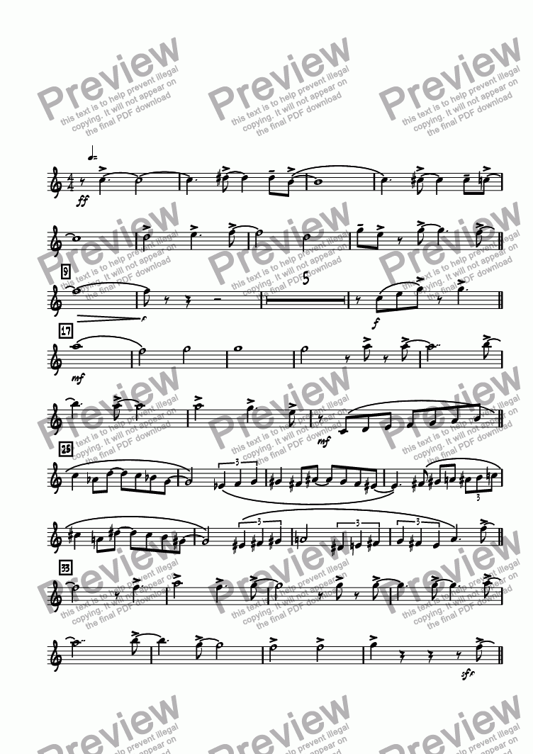 page one of the Tenor 1 part from Bop Chops
