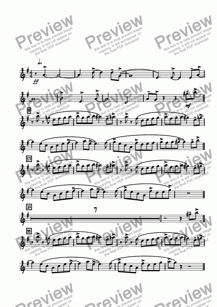 page one of the Bari. Sax. part from Bop Chops