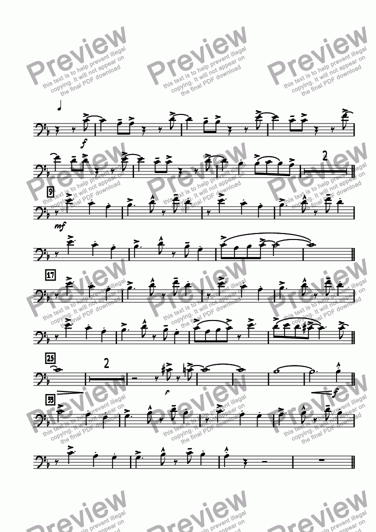 page one of the Trombone 1 part from Random Riff