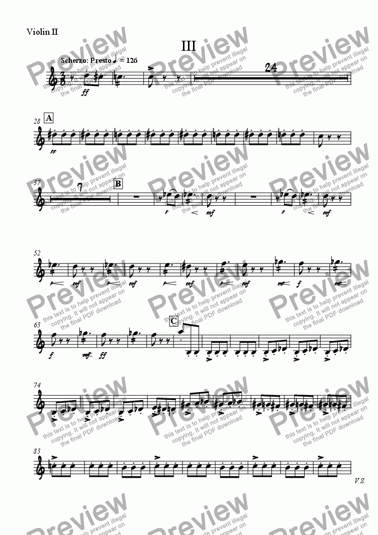 page one of the Violin II part from Severity - 3. Scherzo