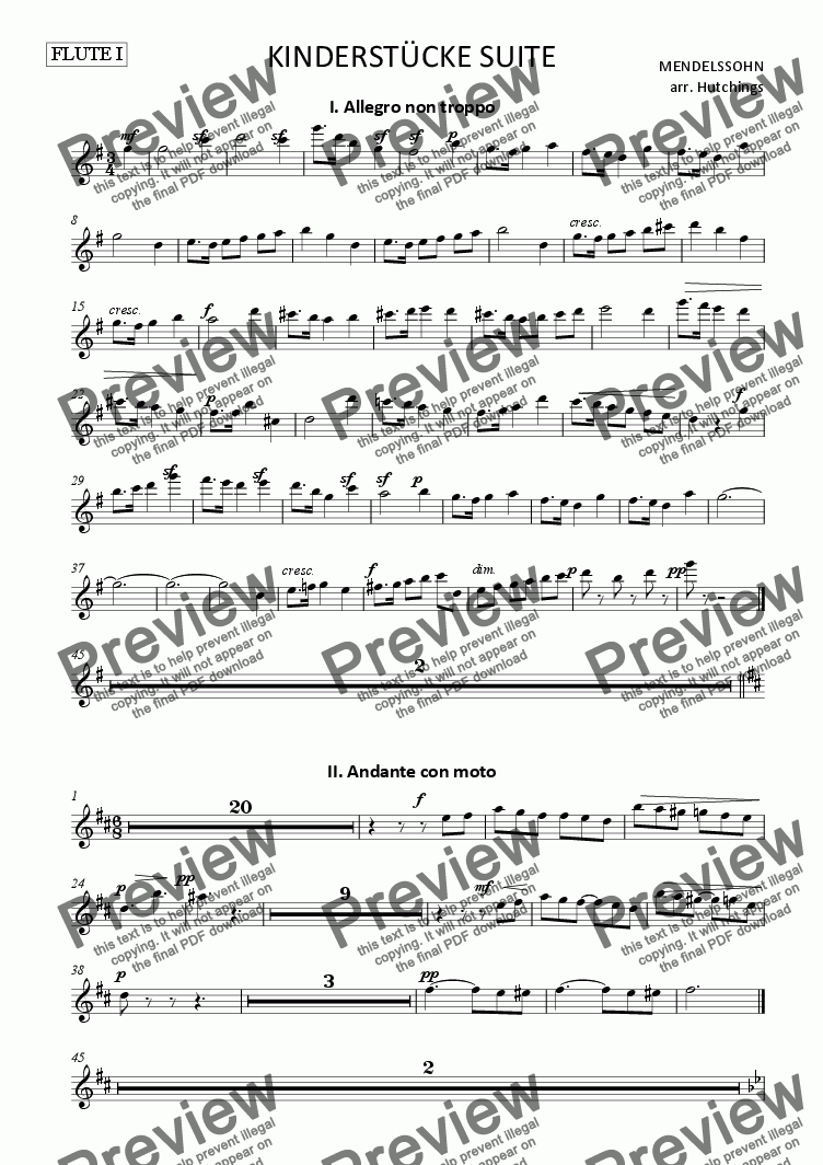 page one of the Flute I part from Mendelssohn - Kinderstücke Suite (from Op.72) arr for Orchestra