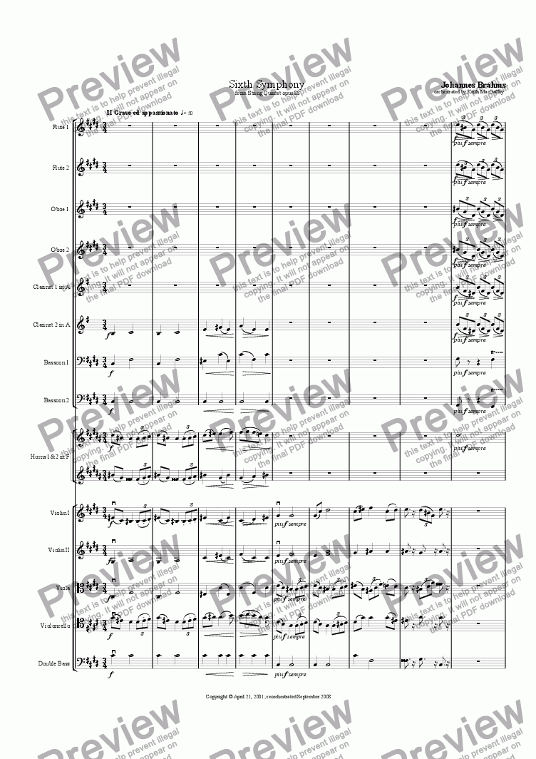 page one of the Clarinet 2 in A part from Brahms' Symphony No 6  II Grave ed appassionato