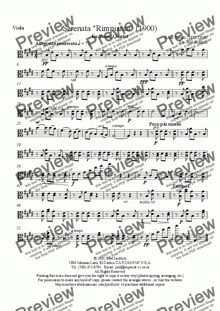 page one of the Viola part from Serenata Rimpianto (String Quartet)