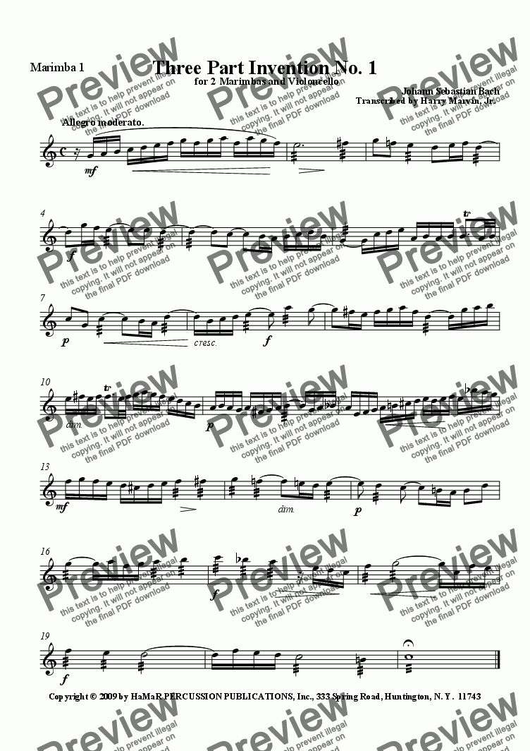 page one of the Marimba 1 part from J. S. Bach Three Part Invention No. 1 for 2 Marimbas and Violoncello