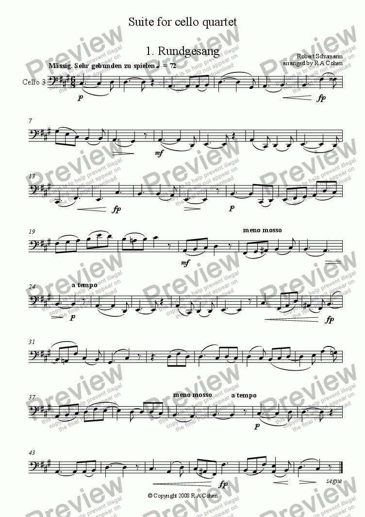 page one of the Cello 3 part from Schumann - SUITE - for cello quartet