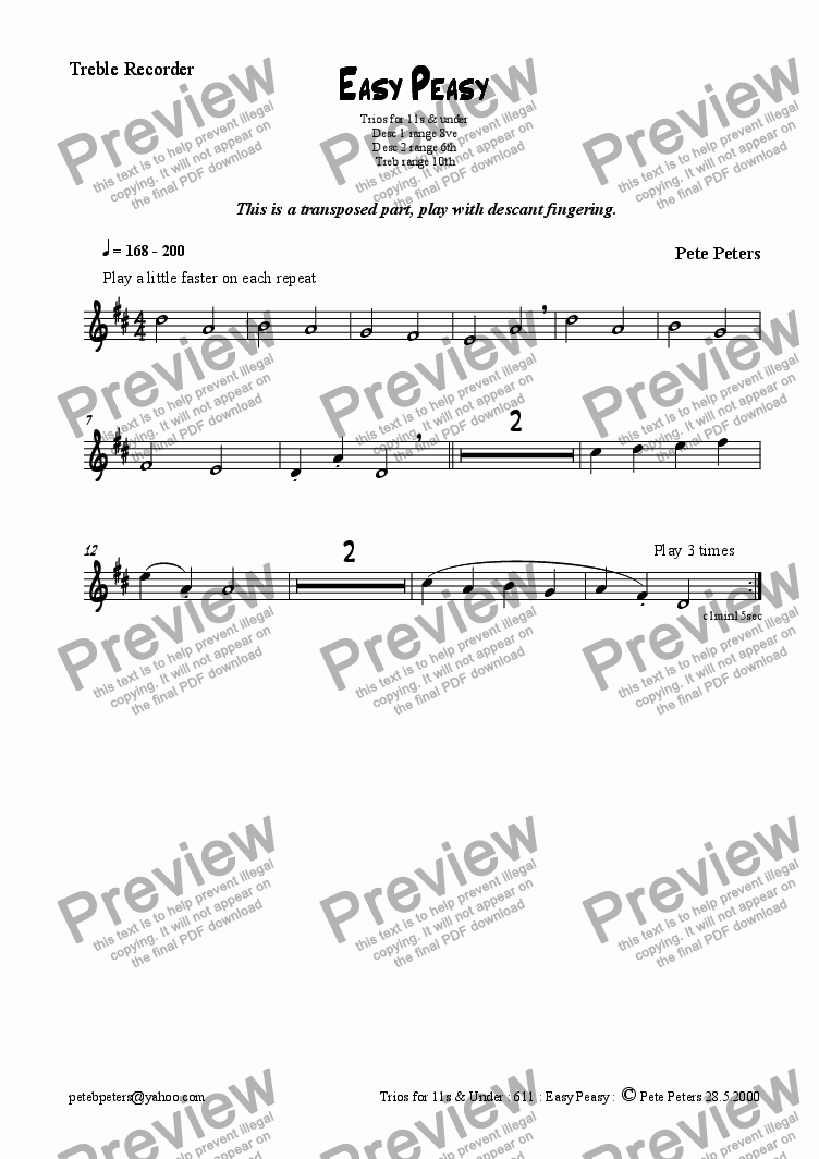 page one of the Treble transposed part from Easy Peasy.  1 of 6 recorder/flute trios for 12yrs & over [see title page]