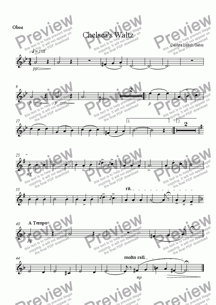 page one of the Oboe part from Chelsea's Waltz (from Enchanted Moments) for Woodwind Quintet