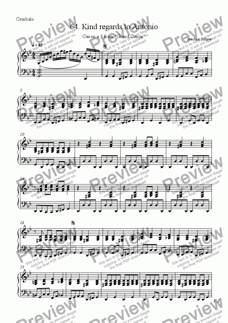 page one of the Harpsichord, piano part from Grand Canon 64 (Kind regards to Antonio - 3Vl)