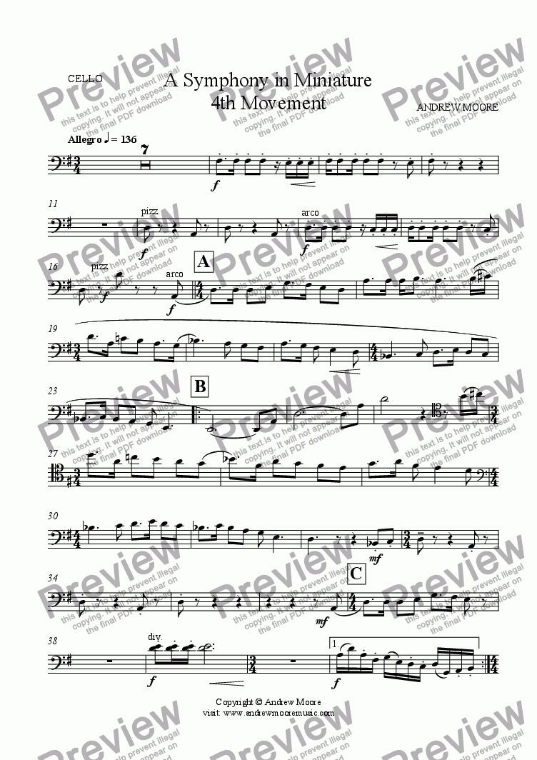 page one of the Cello part from Symphony in Miniature - 4th Movement - for chamber orchestra (or nonet)