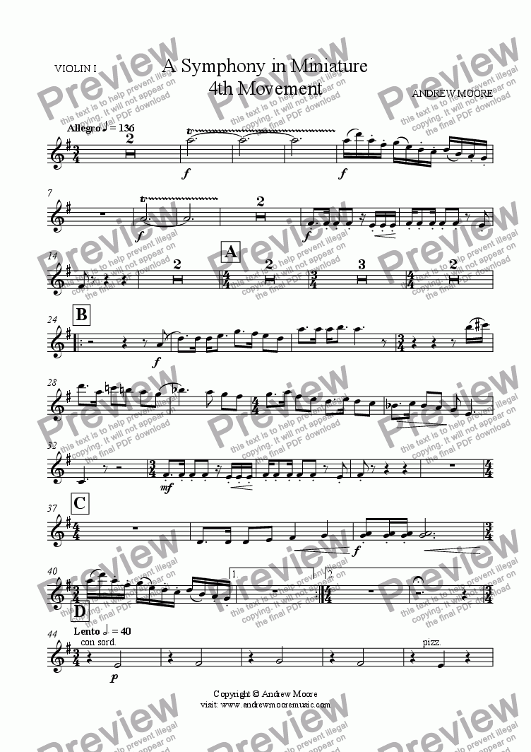 page one of the Violin 1 part from Symphony in Miniature - 4th Movement - for chamber orchestra (or nonet)
