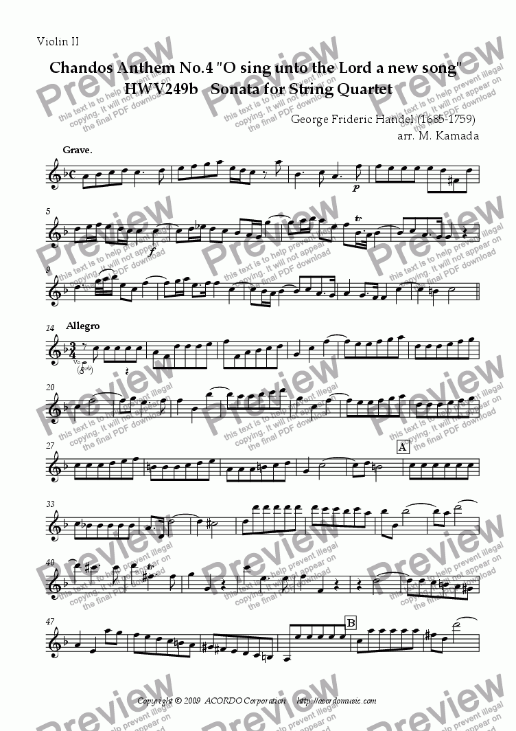 "page one of the Violin II part from Chandos Anthem No.4 ""O sing unto the Lord a new song"" HWV249b Sonata for String Quartet"