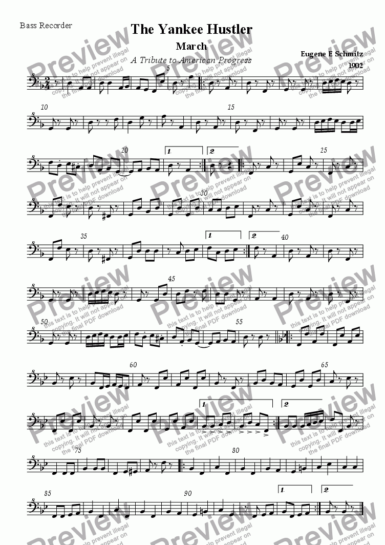 page one of the Bass recorder part from The Yankee Hustler