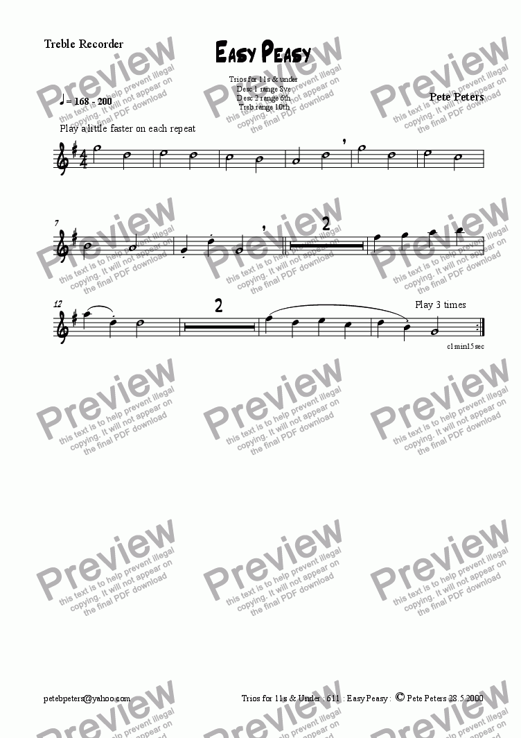 page one of the Treble... part from Easy Peasy.  1 of 6 recorder/flute trios for 12yrs & over [see title page]