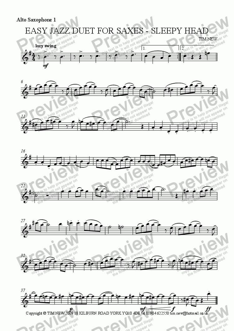 page one of the alto saxophone 1 part from EASY JAZZ DUET FOR SAXES - SLEEPY HEAD