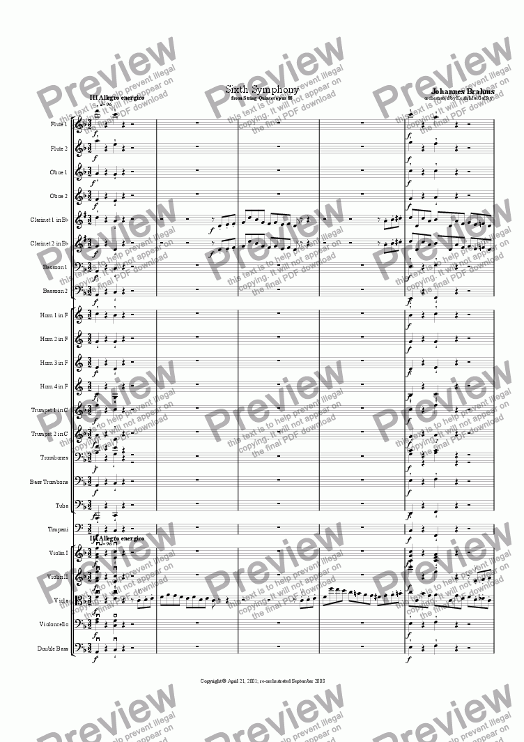 page one of the Bass part from Brahms' Symphony No 6  III Allegro energico