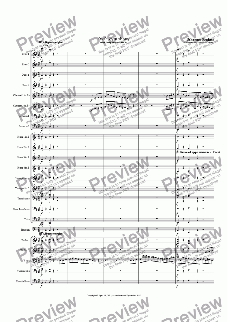 page one of the Horn 2 in F part from Brahms' Symphony No 6  III Allegro energico