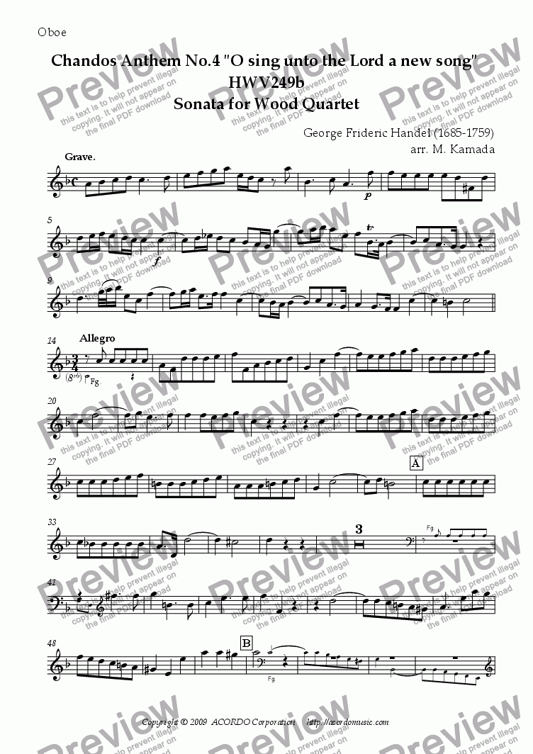 "page one of the Oboe part from Chandos Anthem No.4 ""O sing unto the Lord a new song"" HWV249b Sonata for Wood Quartet"