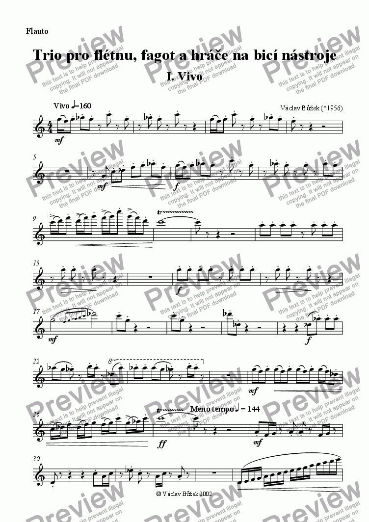 page one of the flute part from Trio for flute, bassoon and percussionist I.