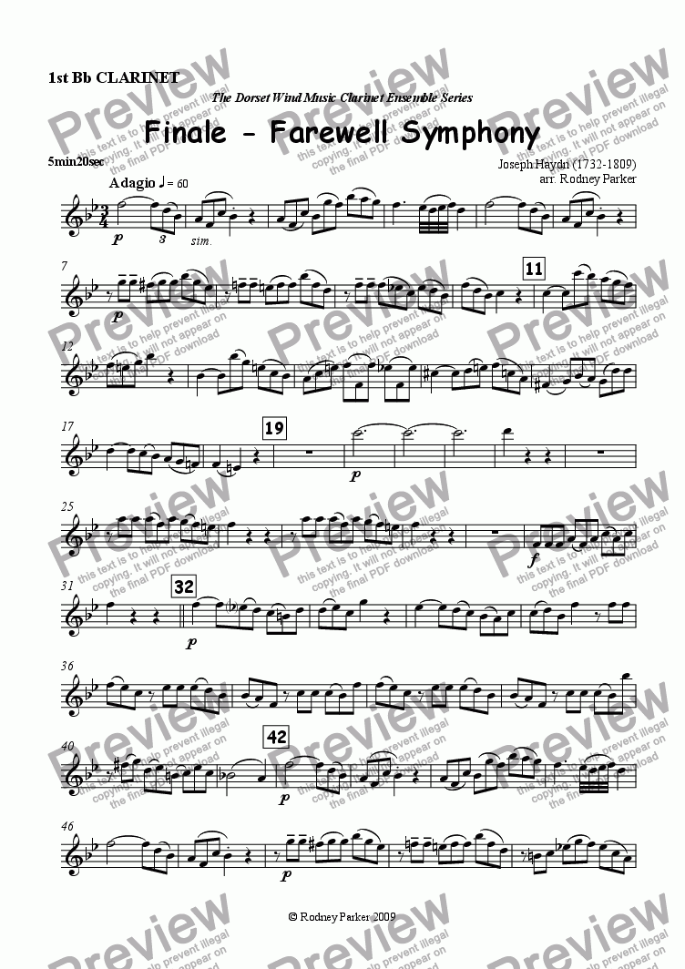 page one of the 1st Bb Clarinet part from Finale - Farewell Symphony arr. for Clarinet Ensemble