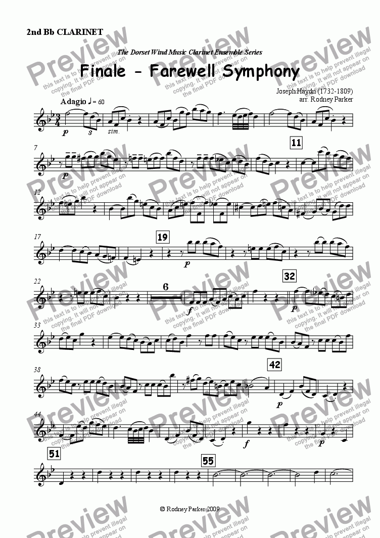 page one of the 2nd Clarinet part from Finale - Farewell Symphony arr. for Clarinet Ensemble