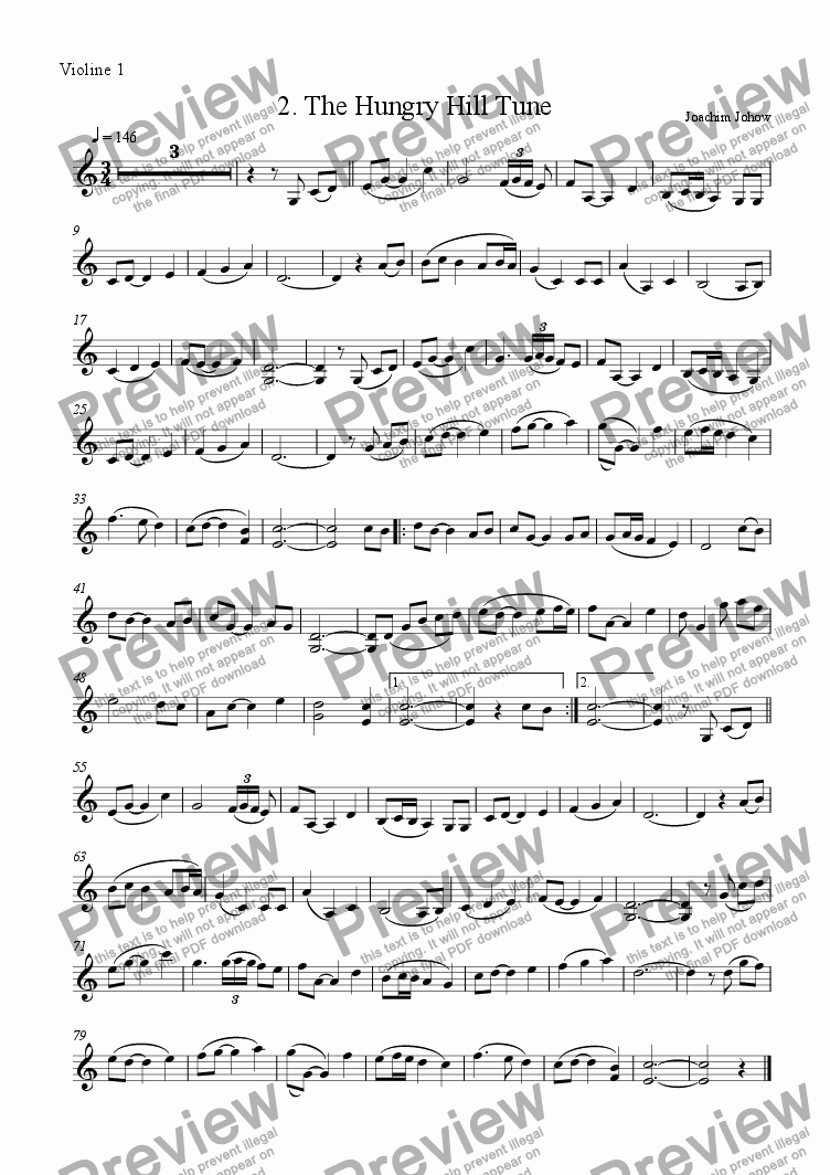 page one of the Vl part from Winter Fiddler 02 (Hungry Hill Tune)