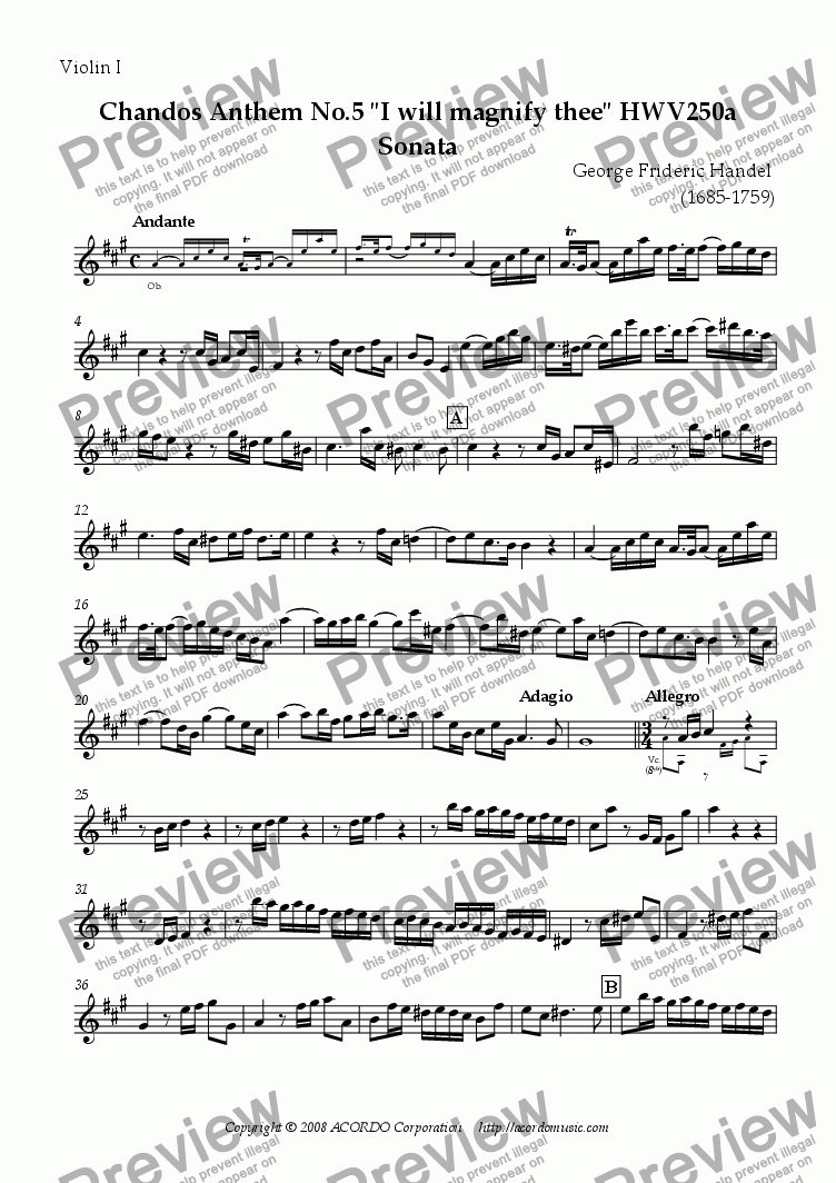"page one of the Violin I part from Chandos Anthem No.5 ""I will magnify thee"" HWV250a Sonata"