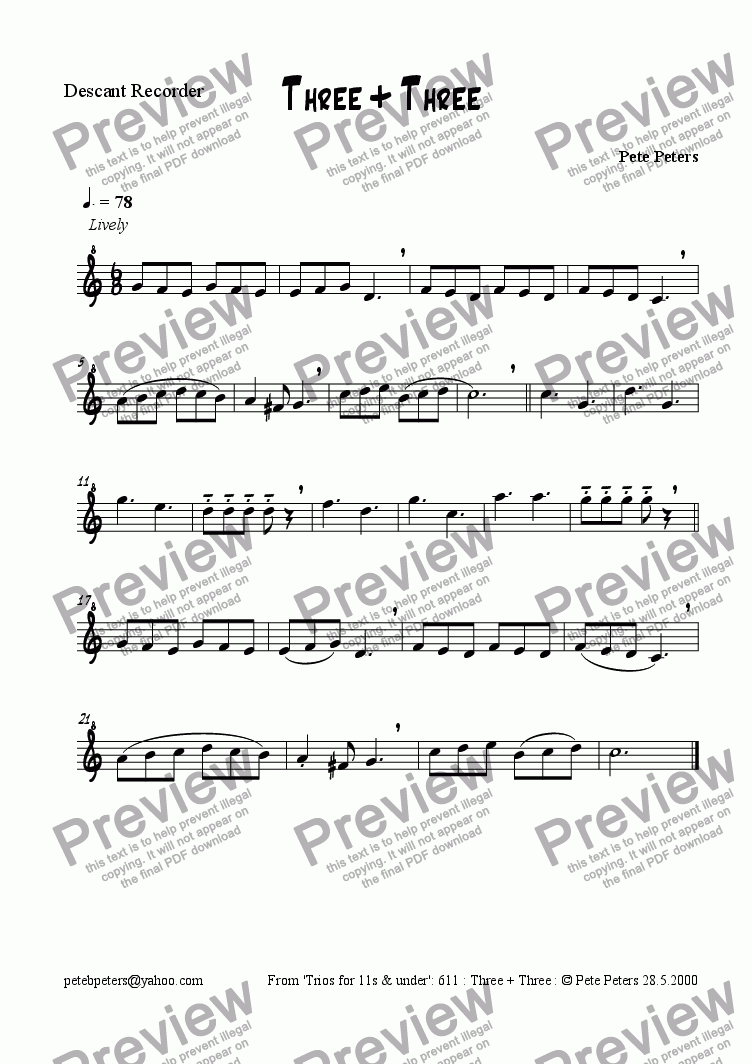 page one of the Descant part from Three + Three (3 of 6) [recorder trios]see Easy Peasy