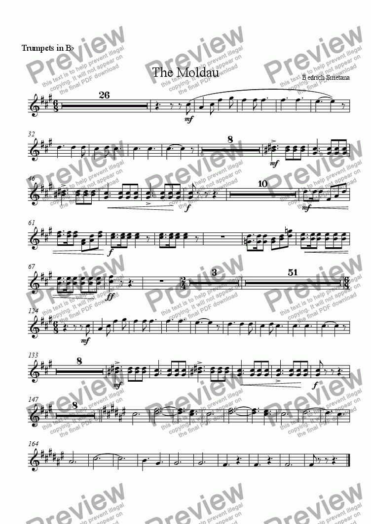 page one of the trumpets part from The Moldau
