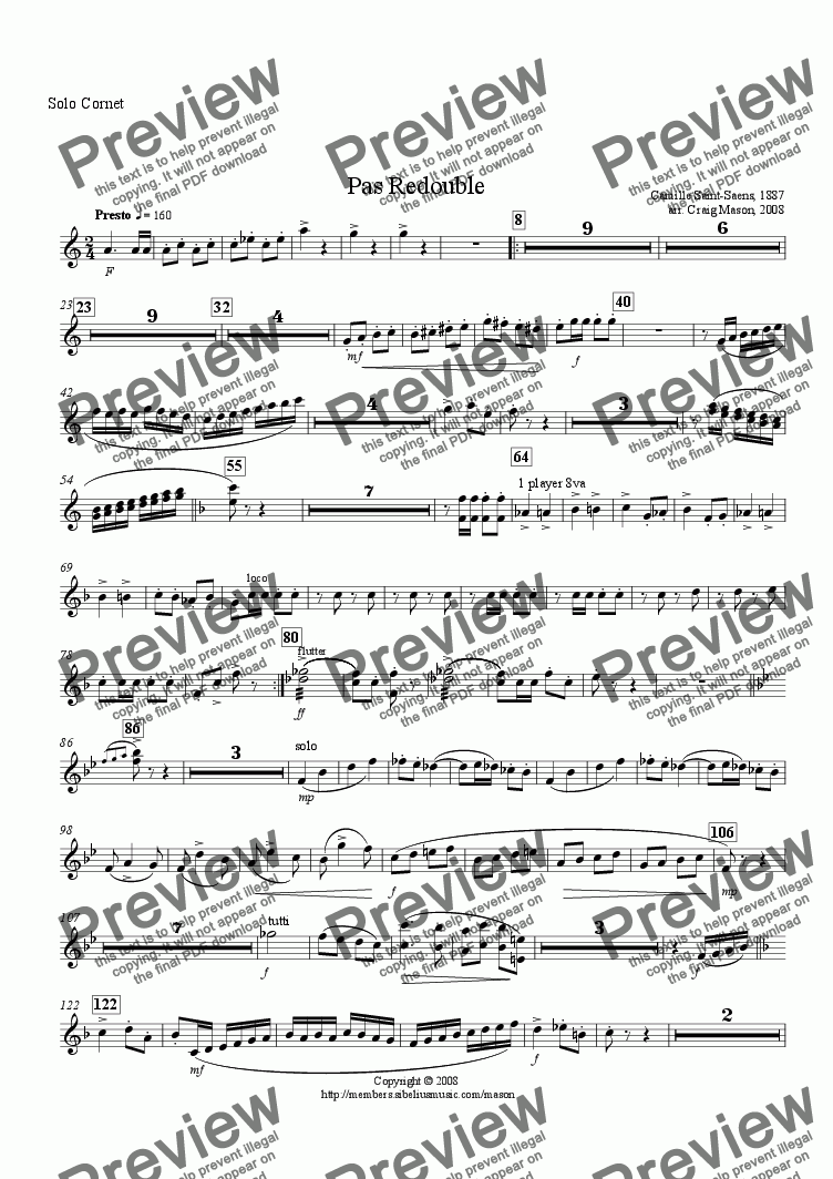 page one of the Solo Cornet part from Pas Redouble-brass band